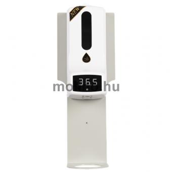 Hőmérős (infravörös) szenzoros fali kézfertőtlenítő állomás, lecseppenés elleni tálcával