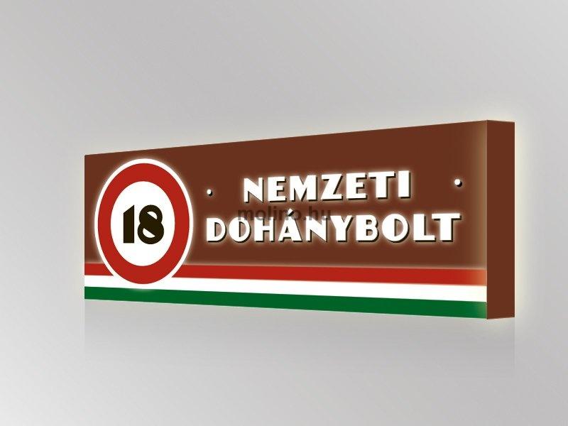 Nemzeti Dohánybolt világító reklámtábla