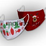 Sűrű szövésű varrott maszk karácsonyi mintával